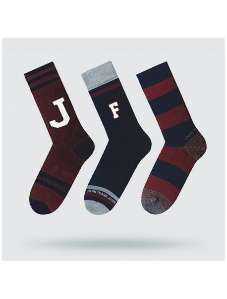 JOHN FRANK PONOŽKY SET JF3LS17W15 BURGUNDY (3ks/balení)